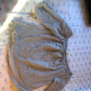 Pin Striped Off the Shoulder Blouse